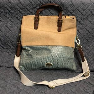 Large fossil tan and teal fold over purse